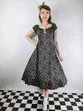 ☆Collectif☆DOLORES HATCH CHECK DOLL DRESS Navy 15号