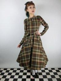 ☆Collectif☆ARWEN MOSSHILL CHECK SWING DRESS Brown 9号