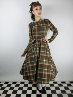 画像1: ☆Collectif☆ARWEN MOSSHILL CHECK SWING DRESS Brown 13号