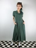 ☆Collectif☆GAYLE PLAIN SWING DRESS Green 15号