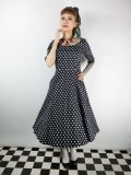 ☆Collectif☆AMBER POLKA DOT SWING DRESS Black 15号