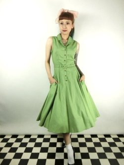 画像2: ☆Collectif☆CATERINA SLEEVELESS SWING DRESS Green 7号