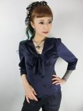 ☆Collectif☆ ANDRA PLAIN BLOUSE Navy 15号