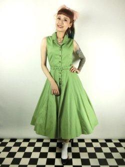 画像1: ☆Collectif☆CATERINA SLEEVELESS SWING DRESS Green 7号
