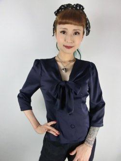画像2: ☆Collectif☆ ANDRA PLAIN BLOUSE Navy 7号