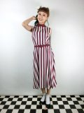 ☆Collectif☆Adalaide Deckchair Stripe Swing Dress Burgundy 7号