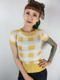 ☆Collectif☆SYDNEY SHORT SLEEVED GINGHAM JUMPER Yellow(L)13号