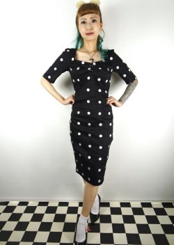 画像2: ☆Collectif☆ DOLORES H/S CRAZY POLKA PENCIL DRESS Black 9号