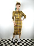 ☆Collectif☆CHEYENNE MOONHILL CHECK PENCIL DRESS Mustard 15号