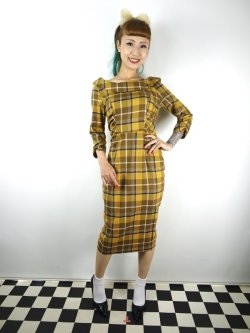 画像1: ☆Collectif☆CHEYENNE MOONHILL CHECK PENCIL DRESS Mustard 13号