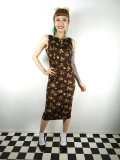 ☆Collectif☆HEPBURN FALL LEAVES PENCIL DRESS Brown 13号