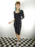 ☆Collectif☆ DOLORES H/S CRAZY POLKA PENCIL DRESS Black 15号