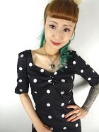 他の写真2: ☆Collectif☆ DOLORES H/S CRAZY POLKA PENCIL DRESS Black 9号