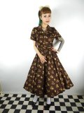 ☆Collectif☆CATERINA FALL LEAVES SWING DRESS Brown 13号