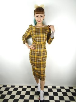 画像2: ☆Collectif☆CHEYENNE MOONHILL CHECK PENCIL DRESS Mustard 9号