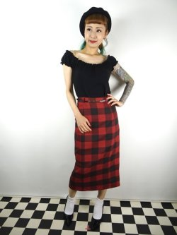 画像2: ☆Collectif☆ Bright & Beautiful Willa Ashurst Gingham Skirt Red 15号