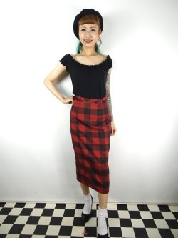 画像1: ☆Collectif☆ Bright & Beautiful Willa Ashurst Gingham Skirt Red 15号
