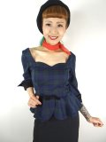 ☆Collectif☆QUINN BLACKWATCH CHECK PEPLUM TOP 15号