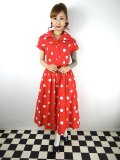 ☆Collectif☆JUDY PAINTED POLKA DRESS Red 19号
