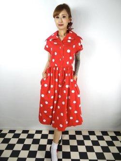 画像2: ☆Collectif☆JUDY PAINTED POLKA DRESS Red 13号