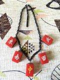 麻雀牌ネックレス ✳︎赤×ブラックチェーン
