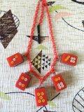 麻雀牌ネックレス 赤×レッドチェーン(2)