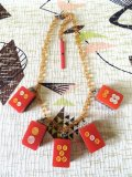 麻雀牌ネックレス 赤×クリアブラウンチェーン(1)