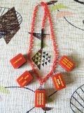 麻雀牌ネックレス 赤×レッドチェーン(6)